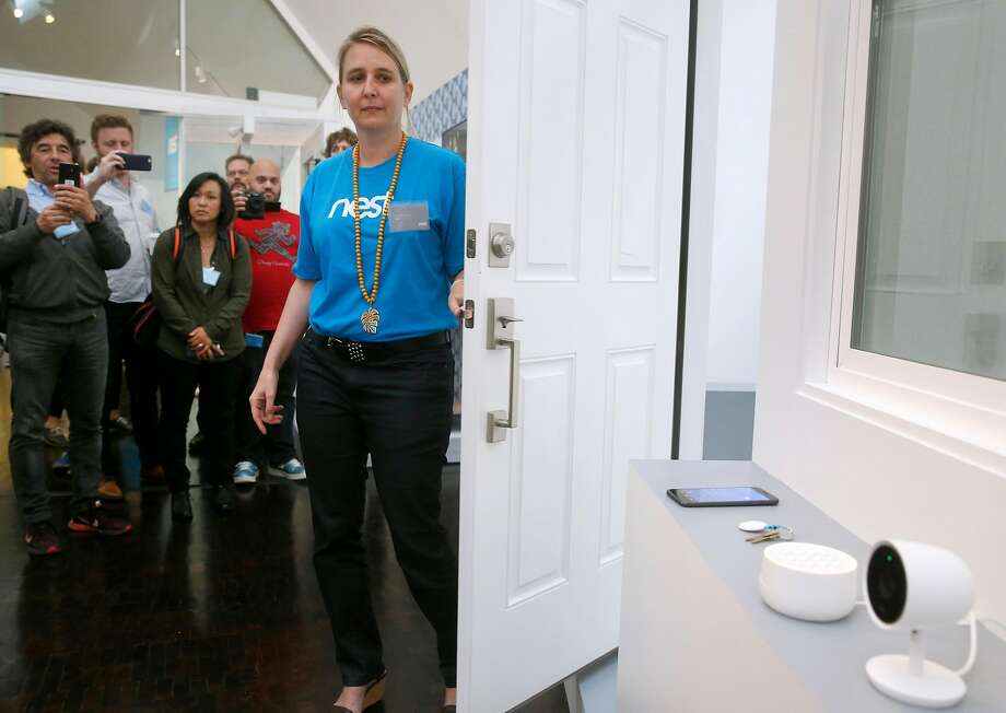 Sophie Le Guen demonstrates a suite of home security devices announced by Nest during a news conference for tech journalists in San Francisco on Wednesday. Photo: Paul Chinn, The Chronicle