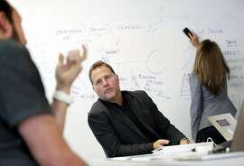 Zenefits CEO Jay Fulcher, center, in a project meeting with Kevin Marasco, Zenefits CMO, left, and Jessica Hoffman, VP of Communications, right, at the company's headquarters in San Francisco, Calif., on Tuesday, September 19, 2017.