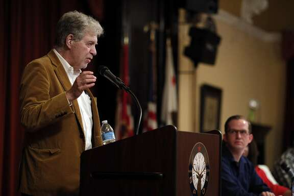 Stephen Jaffe, who is seeking to challenge Nancy Pelosi for her congressional seat, speaks during a presentation of progressive candidates for several local elected offices at the Elks' Lodge in Alameda, on Wednesday, September 13, 2017.