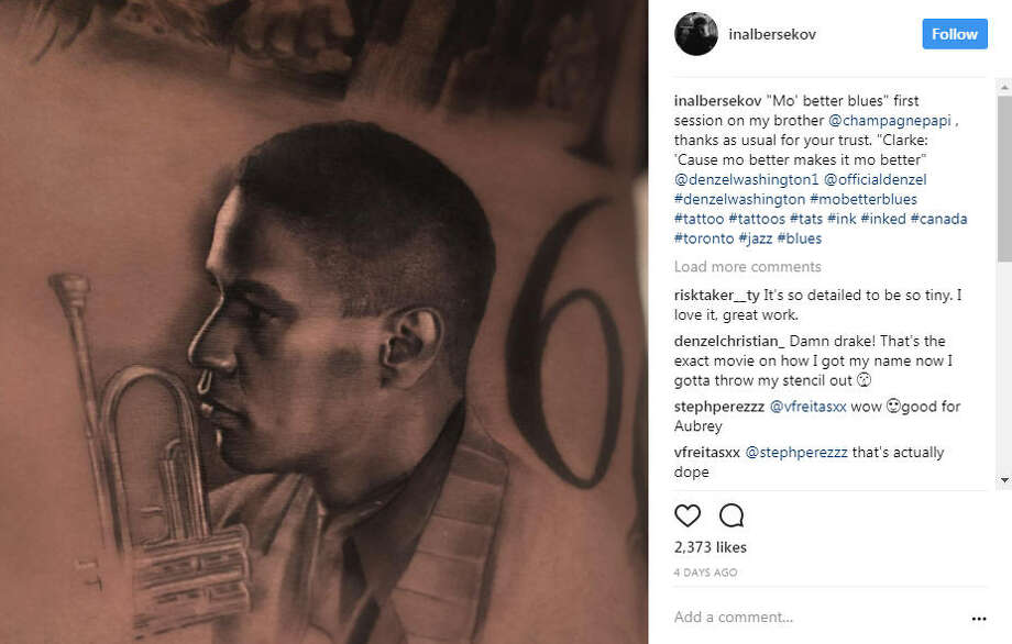 "Toronto-based rapper Drake addes tattoo of Denzel Washington and the late Anthony ""Fif"" Soares to his collection of ink portraits.Photo: Inal Bersekov Instagram Photo: Instagram"