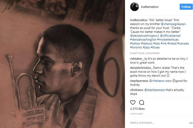 "Toronto-based rapper Drake addes tattoo of Denzel Washington and the late Anthony ""Fif"" Soares to his collection of ink portraits.  Photo:  Inal Bersekov Instagram"