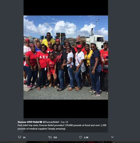 Duncan USVI Relief, a Twitter account set up after retired Spurs star Tim Duncan started a fundraiser for his native St. Croix, tweeted these photos of Hurricane Irma relief efforts before Hurricane Maria passed by.