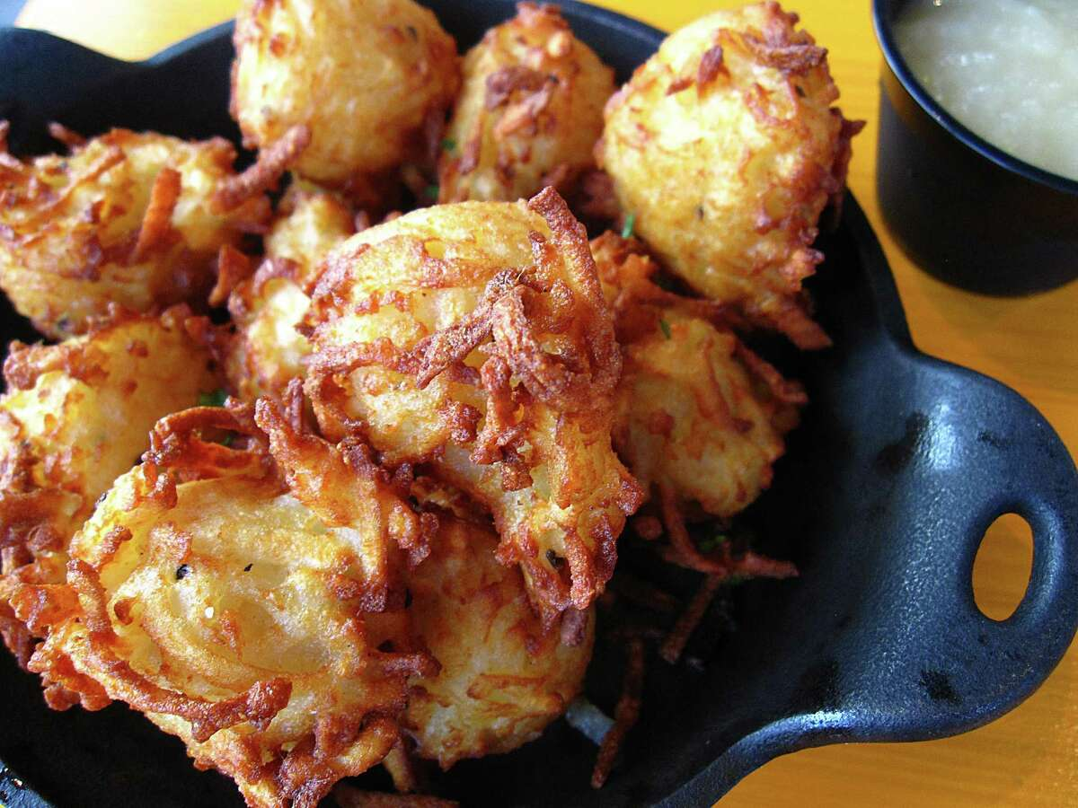 Kartoffel poppers are shredded potatoes and potato pancake batter fried crispy at Krause's Cafe.