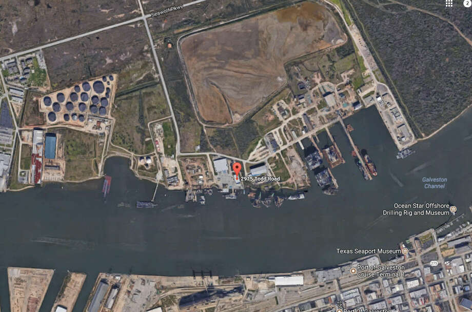A crane accident killed two men on Pelican Island. Photo: Google Maps