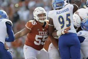 Texas offensive lineman Connor Williams blocks during the second half against San Jose State on Sept. 9, 2017, in Austin.