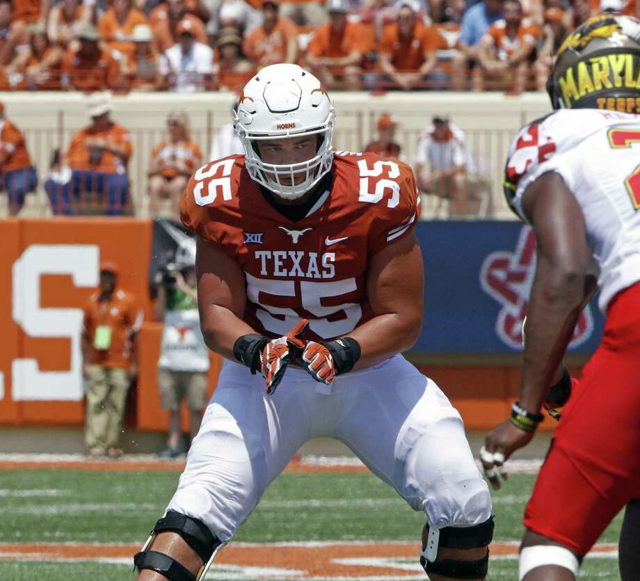 Texas offensive lineman Connor Williams looks to block during a play against Maryland on Sept. 2, 2017, in Austin. Photo: Michael Thomas /Associated Press / FR65778 AP