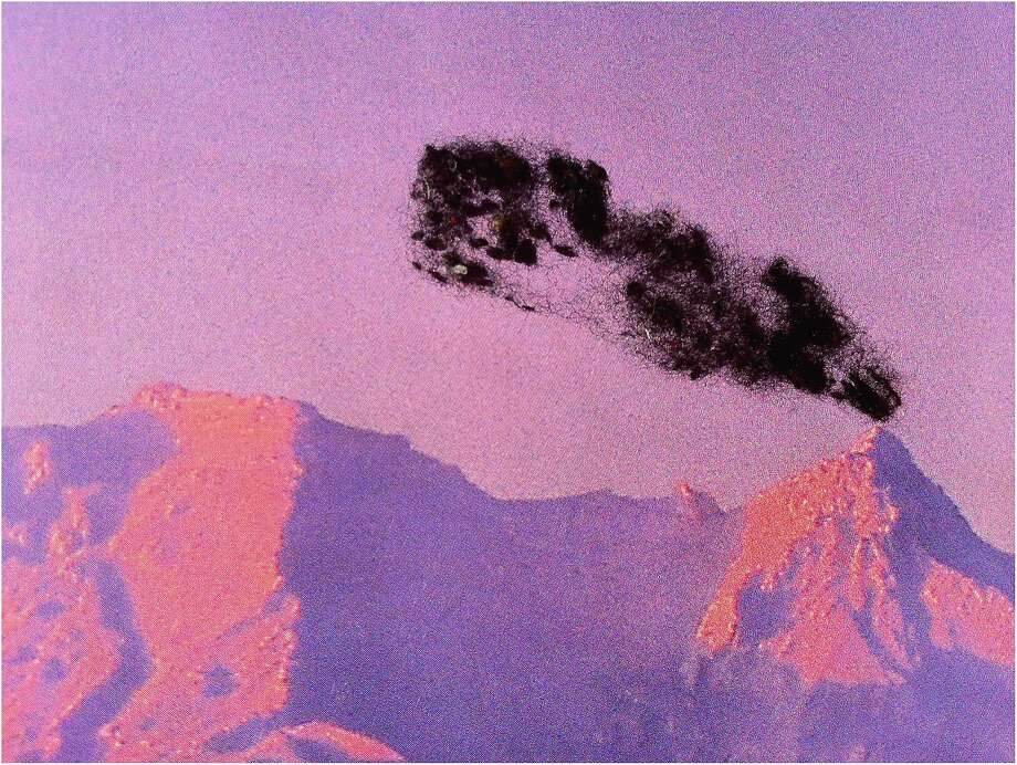 "Nina Katchadourian made ""Pink Volcano"" by putting upholstery fuzz on a magazine photo. Photo: Cantor Arts Center At Stanford University"