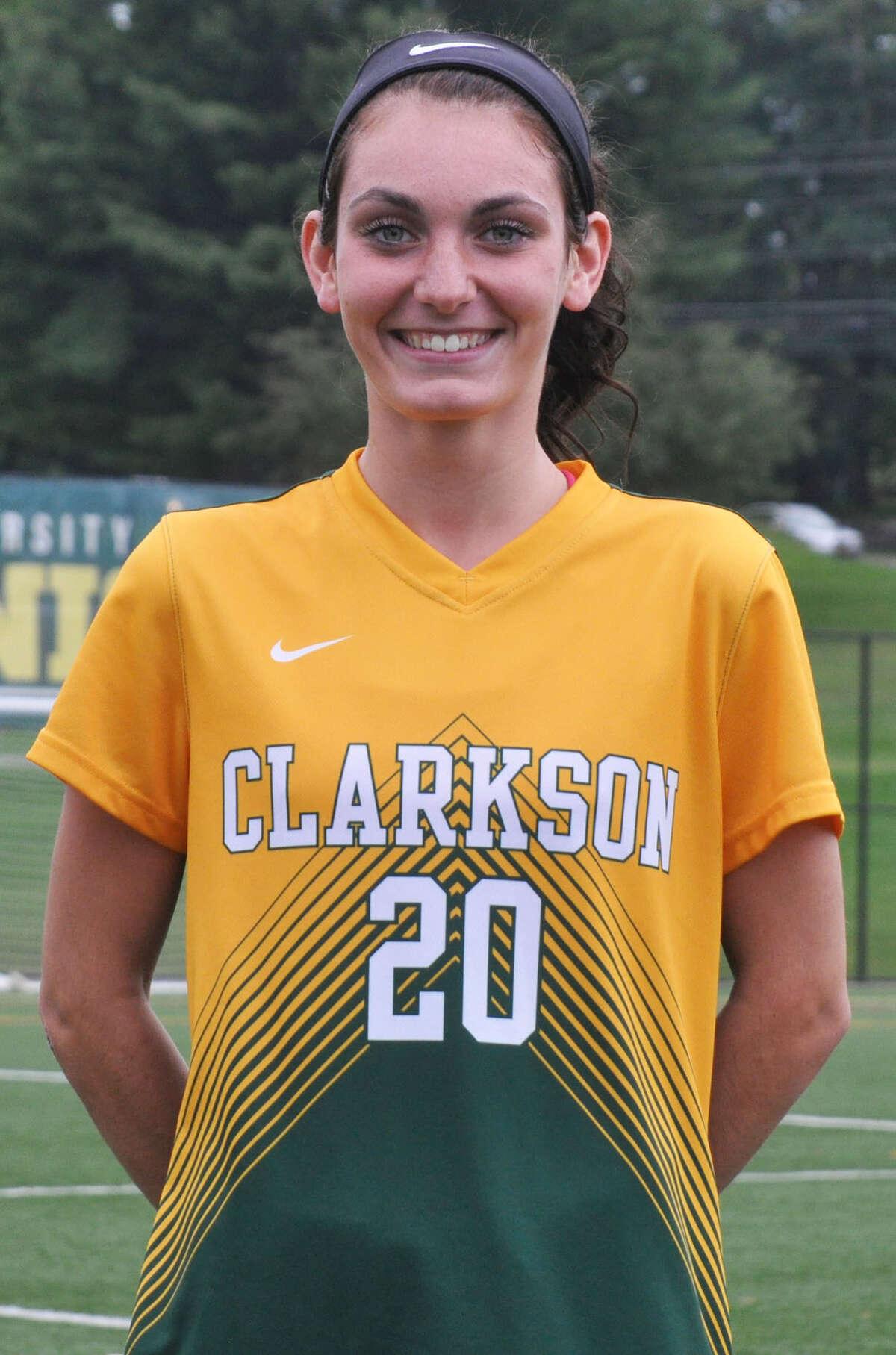 Shaker High graduate Camryn Careccia, right, of the Clarkson women's soccer team. (Courtesy of Clarkson)