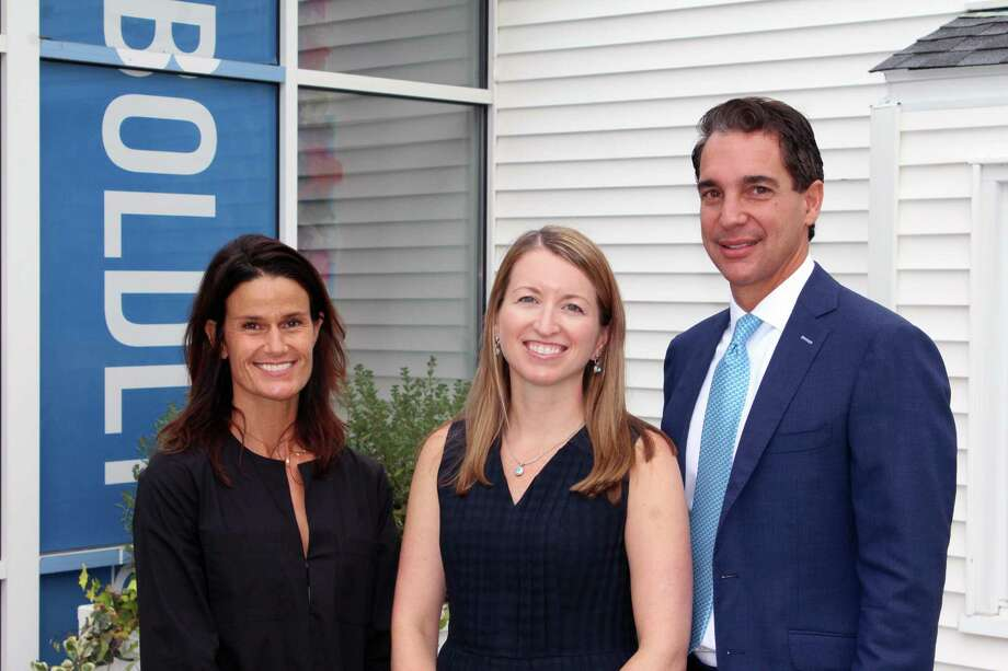 New Canaan Country School trustees and co-chair of Master Planning Task Force Stephanie Bowling Ziegler and Randy Salvatore and Head of Lower School Meaghan Mallin in New Canaan, Conn., on Sept. 14, 2017. Photo: Justin Papp / Hearst Connecticut Media / New Canaan News