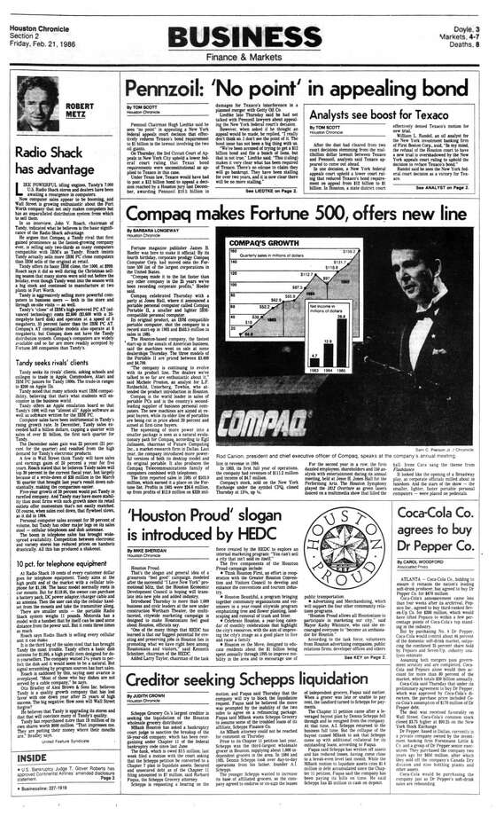 Houston Chronicle inside page - February 21, 1986 - section 2, page 1. 'Houston Proud' slogan is introduced by HEDC Photo: HC Staff / Houston Chronicle