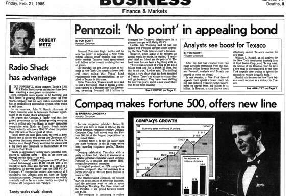Houston Chronicle inside page - February 21, 1986 - section 2, page 1. 'Houston Proud' slogan is introduced by HEDC