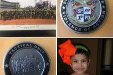 Karma, 7, and the gifts she received from San Francisco Police Department Inspector John Keane. Karma passed away on Tuesday after battling cancer for several years, Keane said.