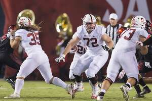 San Diego, Ca. - September 16, 2017: Walker Little #72 of the Stanford Cardinal looks to set a block against the San Diego State Aztecs defense in San Diego Stadium. The final score Stanford 17, San Diego State 20.