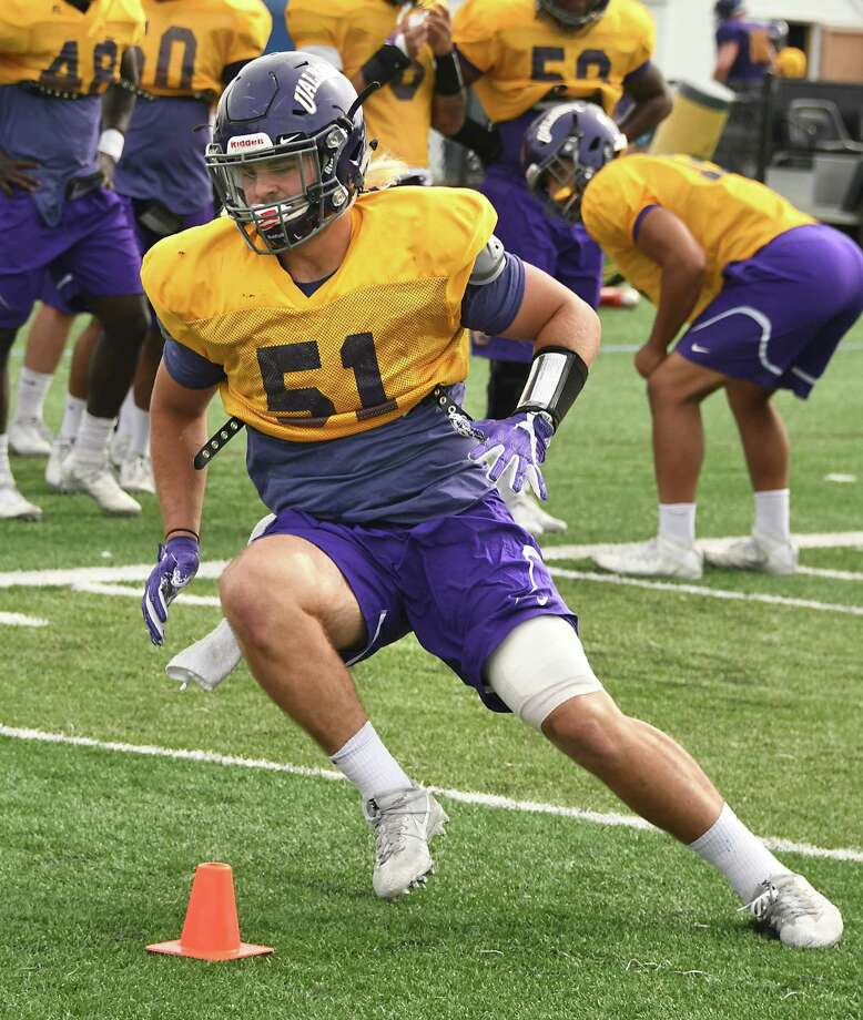 University at Albany linebacker Nate Hatalsky runs a drill during practice at Casey Stadium on Wednesday, Sept. 20, 2017 in Albany, N.Y. (Lori Van Buren / Times Union) Photo: Lori Van Buren / 20041607A