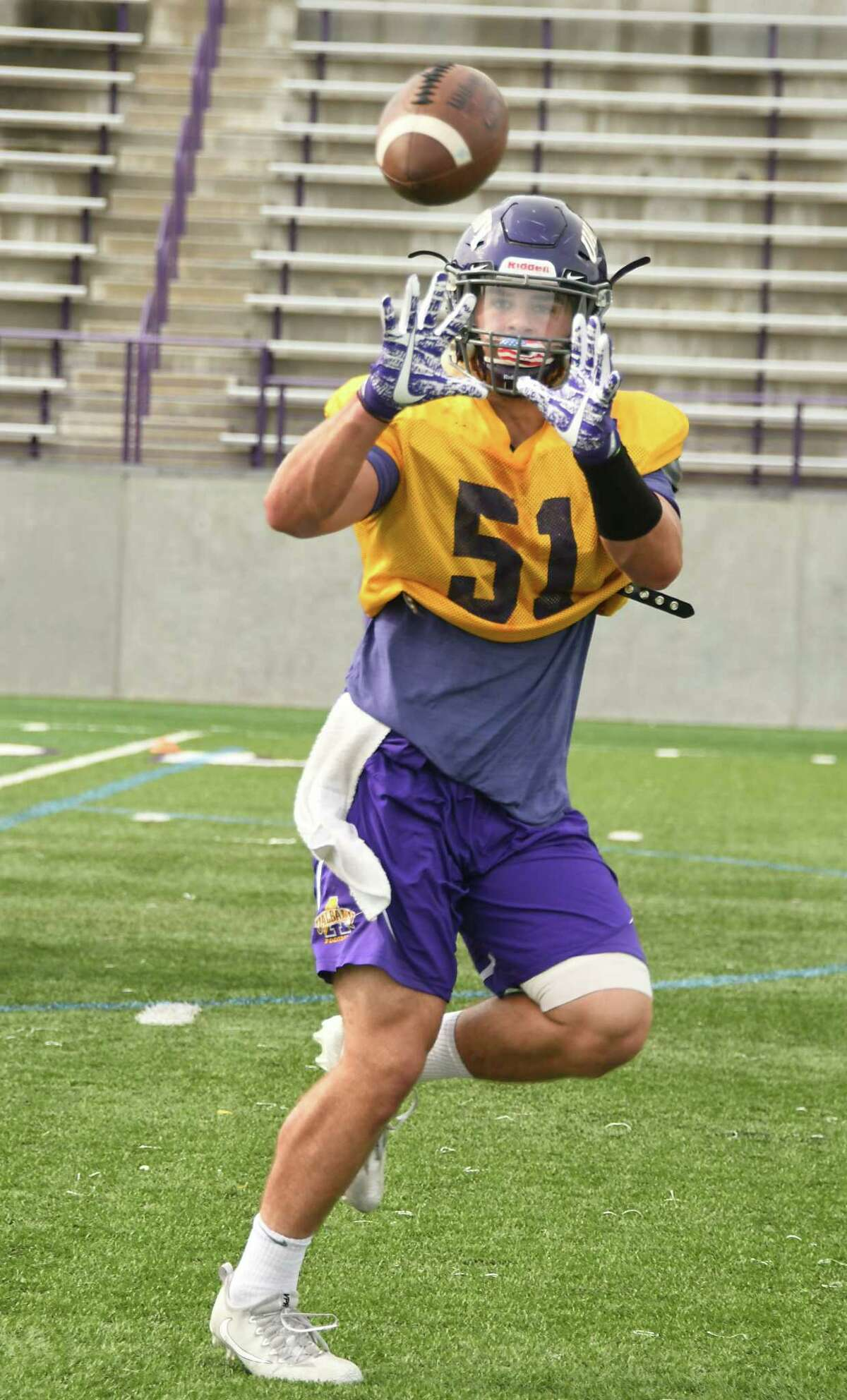 University at Albany linebacker Nate Hatalsky catches a pass during practice at Casey Stadium on Wednesday, Sept. 20, 2017 in Albany, N.Y. (Lori Van Buren / Times Union)