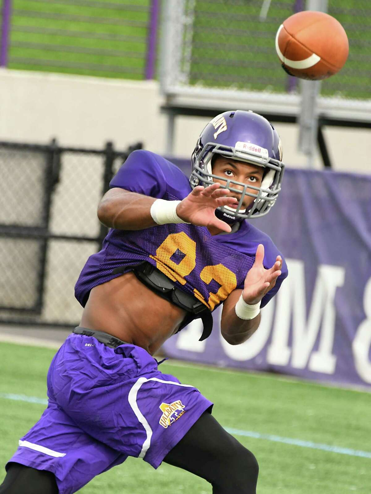 University at Albany wide receiver Donovan McDonald (No. 83) catches a pass during practice at Casey Stadium on Wednesday, Sept. 20, 2017 in Albany, N.Y. (Lori Van Buren / Times Union)