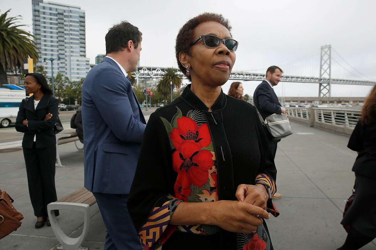 Oakland city attorney Barbara Parker announce filing lawsuits on behalf of Oakland against the five-largest investor-owned producers of fossil fuels on the Embardadero at Brannan streets on Wednesday, September 20, 2017, in San Francisco, Calif.