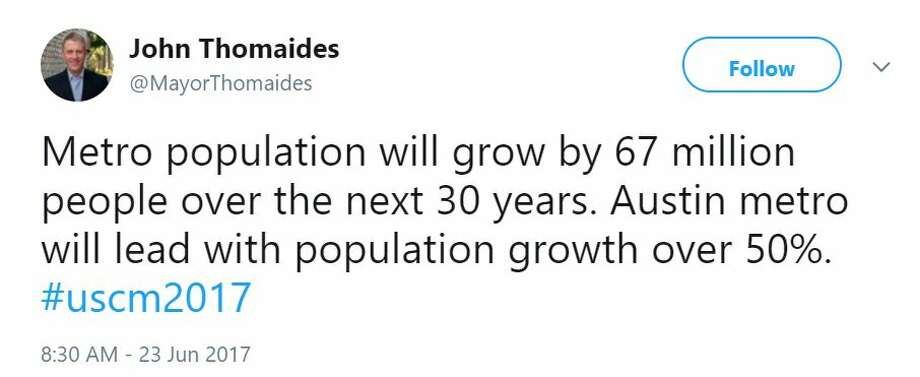 In this June 2017 tweet, San Marco Mayor John Thomaides said the Austin metro region will outgrow every other region by 2046. Photo: Selby, Gardner (CMG-Austin)