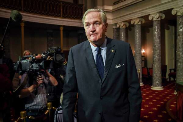 Sen. Luther Strange, seen Feb. 9 in Washington, D.C., will be joined by President Trump at a Friday rally, followed by Vice President Mike Pence heading down next Monday on the eve of Alabama's run-off election.
