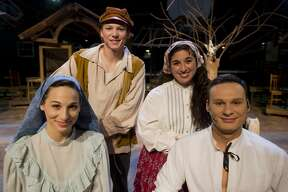 From left to right, Angie Dickinson, Jeffrey Fillmore, Audrey Ortiz and Joe Fillmore pose together for a portrait before a dress rehearsal for Center Stage TheatreÕs production of Fiddler on the Roof on Tuesday, September 19, 2017 at the Midland Center for the Arts. The play opens Friday, September 22 and continues through October 8. (Katy Kildee/kkildee@mdn.net)