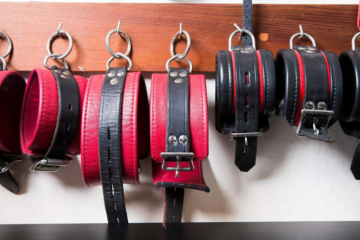 A collection of leather cuffs for bondage play is seen at the dungeon of the home of Fakir Musafar and Cleo du Bois in Silicon Valley on Monday, Aug. 21, 2017. Musafar is a practitioner of body modifications who now teaches at a piercing school while du Bois advocates and teaches bondage play.