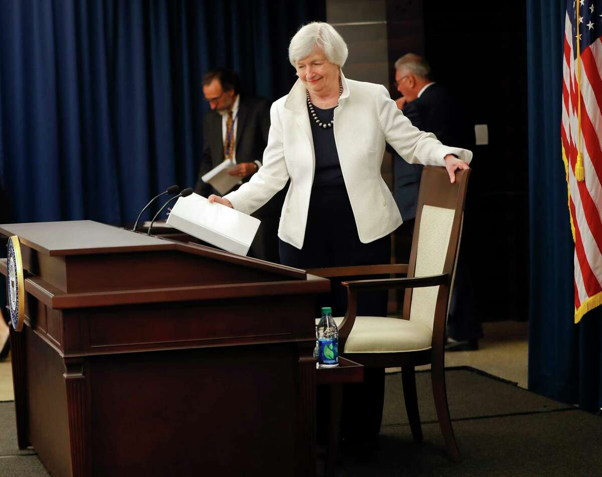 Federal Reserve Chair Janet Yellen takes her seat before speaking during a news conference following the Federal Open Market Committee meeting in Washington, Wednesday, Sept. 20, 2017. (AP Photo/Pablo Martinez Monsivais) ORG XMIT: DCPM101