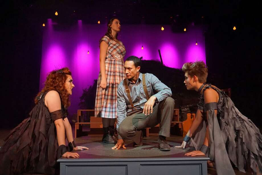 """Jessica Gleason as The Dark Witch, Kate Morris (standing) as Barbara Allen, John Squires asJohn the Witch Boy, and Phair Haldin as The Fair Witch, in a scene from the Sherman Players' production of """"Dark of the Moon."""" Photo: Photos By Tom Libonate / Contributed Photo Not For Resale"""