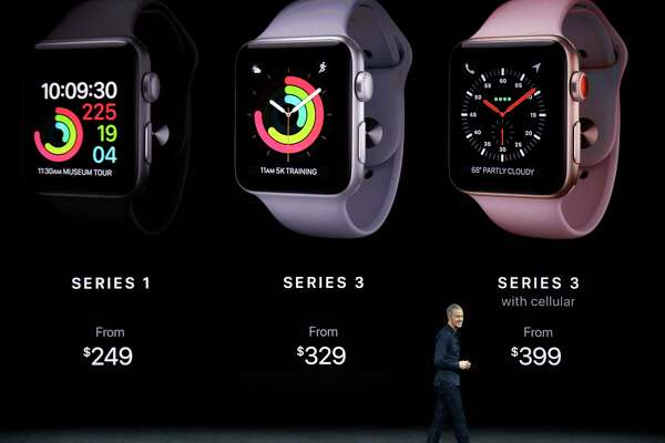 Jeff Williams, Apple's chief operating officer, shows new Apple Watch Series 3 products earlier this month.