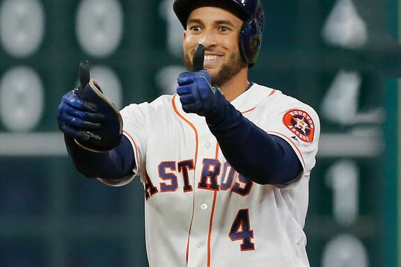 HOUSTON, TX - SEPTEMBER 19:  George Springer #4 of the Houston Astros doubles in the eighth inning against the Chicago White Sox at Minute Maid Park on September 19, 2017 in Houston, Texas.  (Photo by Bob Levey/Getty Images)