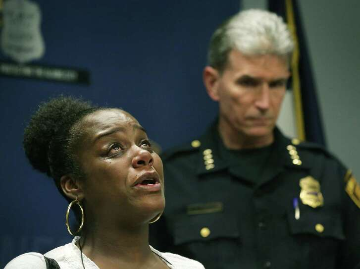 """Adrianne House, mother of Edward Hardeman, 21, who was recently shot on the East Side, talks about her son's injuries. San Antonio Police Chief William McManus, along with Councilman William H. """"Cruz"""" Shaw and House, spoke at a news conference Wednesday at Public Safety Headquarters about the recent spate of shootings on the East Side."""