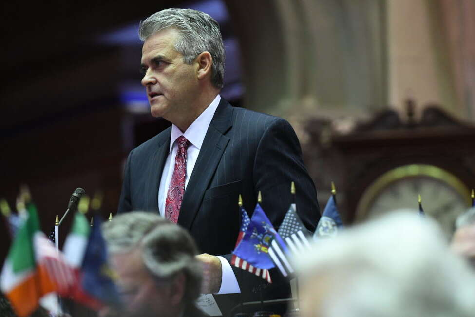 Assemblyman Steve McLaughlin (R,C,I-Troy) questions Assembly Ways and Means Committee Chair, Assemblyman Herman Farrell Jr., on the state budget during session on Friday, April 7, 2017, at the Capitol in Albany, N.Y. (Will Waldron/Times Union)
