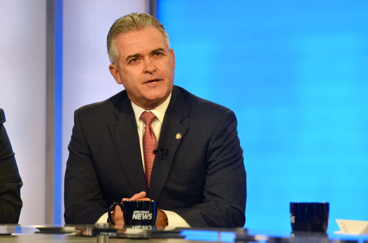 Republican candidate for Rensselaer County Executive, Assemblyman Steve McLaughlin takes part in a debate with opponent Chris Meyer on Thursday, Sept. 7, 2017, at Spectrum News in Albany, N.Y. (Pool photo)