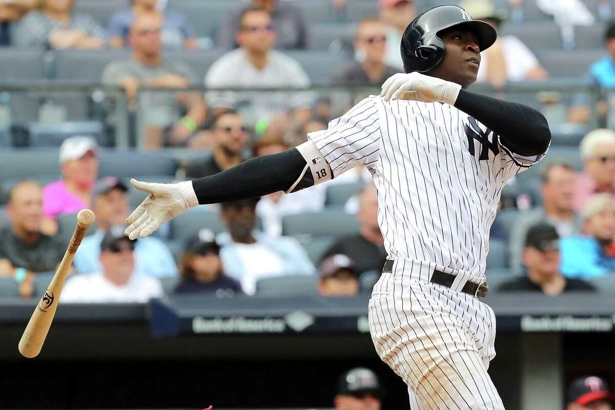 NEW YORK, NY - SEPTEMBER 20: Didi Gregorius #18 of the New York Yankees watches his three run home run in the fourth inning against Minnesota Twins on September 20, 2017 at Yankee Stadium in the Bronx borough of New York City. (Photo by Abbie Parr/Getty Images) *** BESTPIX *** ORG XMIT: 700012529