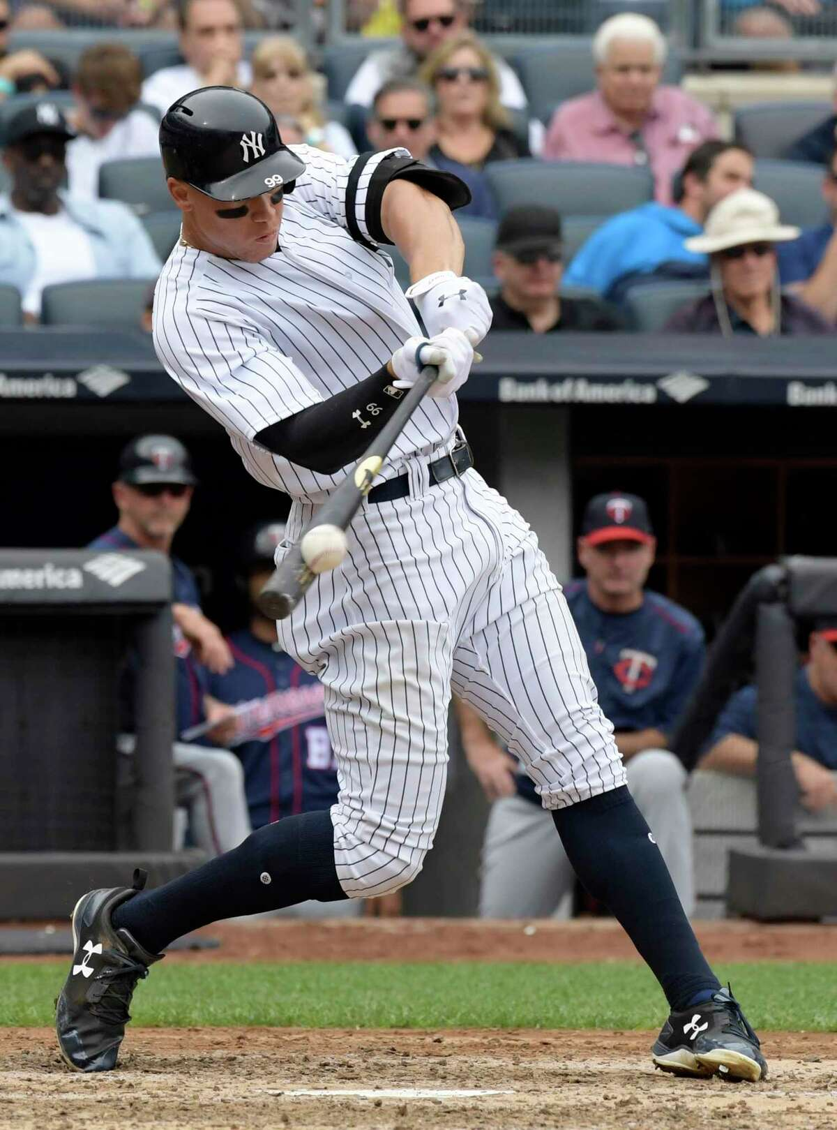 New York Yankees' Aaron Judge hits a two-run home run during the third inning of a baseball game against the Minnesota Twins Wednesday, Sept. 20, 2017, at Yankee Stadium in New York. (AP Photo/Bill Kostroun) ORG XMIT: NYY106