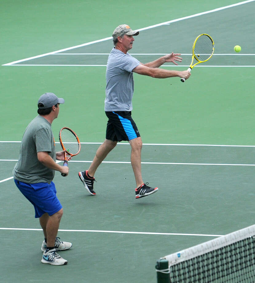 Huntleigh Burke (left) and Darren Byrd (right) won the Men's A doubles match of the Southwest Oilman's Tennis Tournament on Saturday, Sept. 24, 2016, at Midland Country Club. James Durbin/Reporter-Telegram