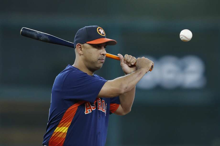 Houston Astros bench coach Alex Cora (26) during batting practice before an MLB baseball game at Minute Maid Park, Wednesday, Sept. 20, 2017, in Houston.  ( Karen Warren / Houston Chronicle ) Photo: Karen Warren/Houston Chronicle