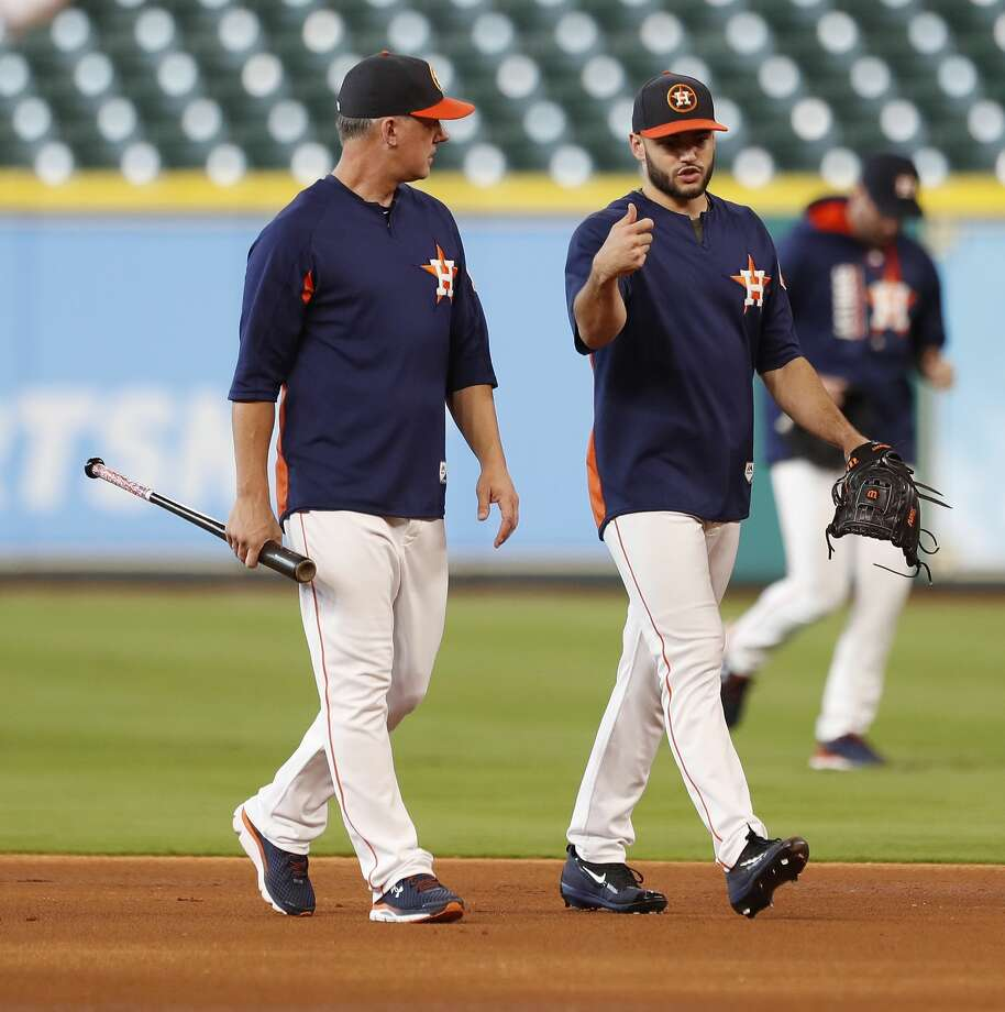 Houston Astros manager A.J. Hinch walks with Lance McCullers during batting practice before an MLB baseball game at Minute Maid Park, Wednesday, Sept. 20, 2017, in Houston.  ( Karen Warren / Houston Chronicle ) Photo: Karen Warren/Houston Chronicle