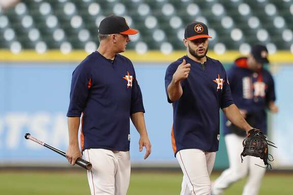 Houston Astros manager A.J. Hinch walks with Lance McCullers during batting practice before an MLB baseball game at Minute Maid Park, Wednesday, Sept. 20, 2017, in Houston.  ( Karen Warren / Houston Chronicle )