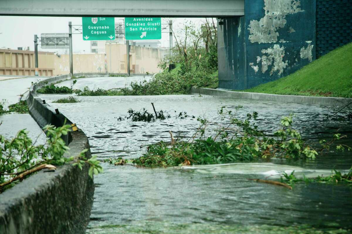 A flooded roadway after Hurricane Maria in Guaynabo, P.R., Sept. 20, 2017. Hurricane Maria battered Puerto Rico as a Category 4 storm on Wednesday, sending thousands of people scrambling to shelters and knocking out power on the island. (Erika P. Rodriguez/The New York Times) ORG XMIT: XNYT175