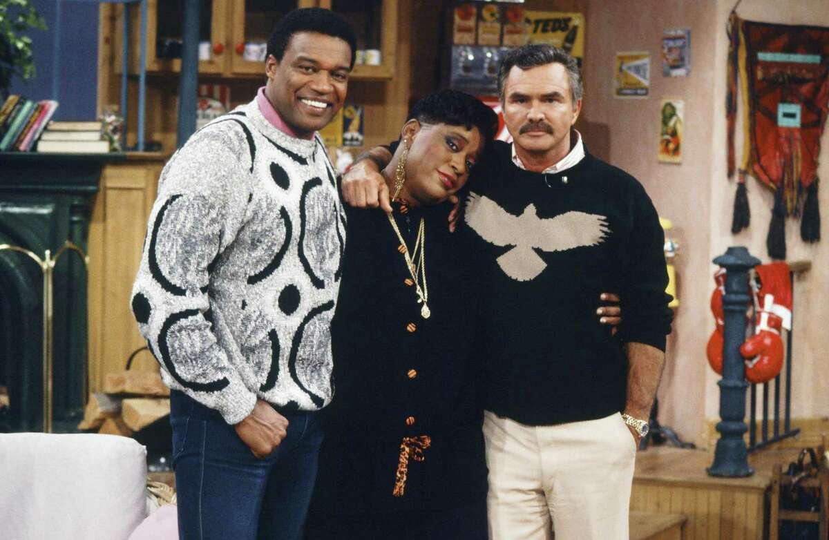 THE MARSHA WARFIELD SHOW -- Episode 45 --Pictured: (l-r) Actor Bernie Casey, host Marsha Warfield, actor Burt Reynolds -- Photo by: Joseph Del Valle/NBC/NBCU Photo Bank