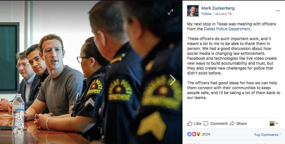 """""""These officers do such important work, and it meant a lot to me to be able to thank them in person,"""" wrote Zuckerberg, a regular human man who is definitely not seeking political office of any kind, after meeting with the Dallas Police Department on his trip to Texas."""