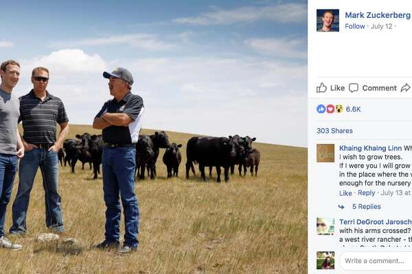 """Thanks to the Normans for welcoming me into their home. Families like theirs don't always get a lot of credit, but we depend on the work they do,"" Zuckerberg wrote after eating lunch with a family of cattle ranchers in South Dakota, noting that he set a goal for the year to only eat meat he killed and helped butcher himself."