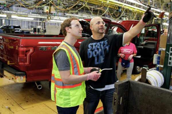 On his visit to Michigan in April, Zuckerberg made a beeline for Detroit and helped put together pickup trucks on a Ford assembly line. America!