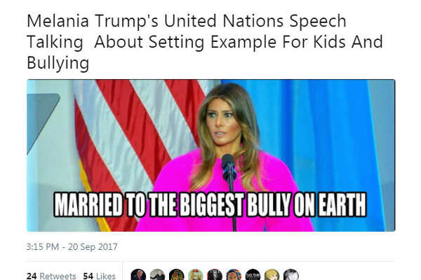 Twitter users blasted First Lady Melania Trump's speech at the United Nations, calling her cyber-bullying stance a hypocrisy.