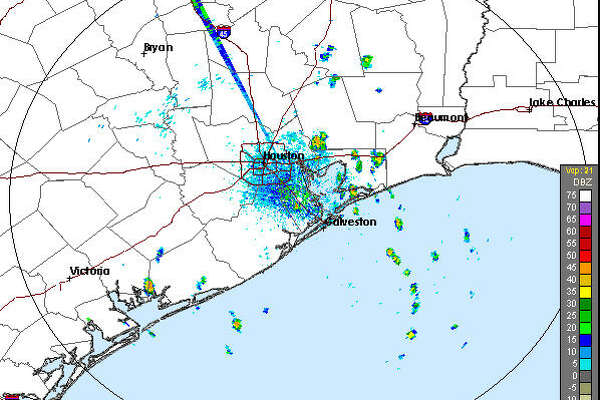 A screenshot of an HGX Radar image of the Greater Houston area on Sept. 21, 2017.