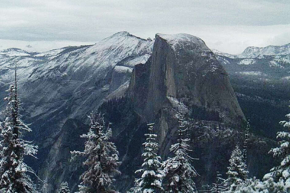 The Yosemite Conservancy webcam shows a dusting of snow on the Sentinel Dome on Sept. 21, 2017.