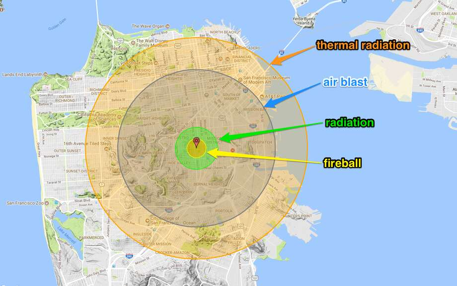"The main effects of the nuclear blast display as four colored zones:* Fireball (0.56 miles wide): In the area closest to the bomb's detonation site, flames incinerate most buildings, objects, and people.* Radiation (1.24 miles wide): A nuclear bomb's gamma and other radiation are so intense in this zone that 50% or more of people die within ""several hours to several weeks,"" according to Nukemap.* Air blast (4.64 miles wide): This shows a blast area of 5 pounds per square inch, which is powerful enough to collapse most residential buildings and rupture eardrums. ""Injuries are universal, fatalities are widespread,"" Nukemap says.* Thermal radiation (6.54 miles wide): This region is flooded with skin-scorching ultraviolet light, burning anyone within view of the blast. ""Third-degree burns extend throughout the layers of skin and are often painless because they destroy the pain nerves,"" Nukemap says. ""They can cause severe scarring or disablement, and can require amputation."" Photo: Nukemap 2.5/Alex Wellerstein; Google Maps; Business Insider"
