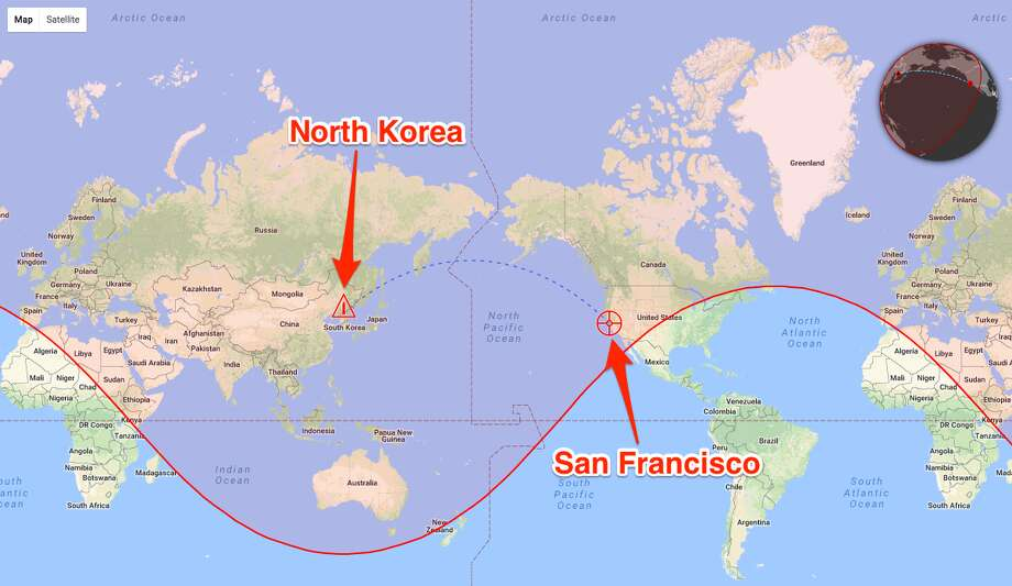 We started with San Francisco, since according to Missilemap — Wellerstein's companion tool to Nukemap — the city is within the estimated range of Hwasong-14, North Korea's newest and farthest-reaching intercontinental ballistic missile. Photo: Misslemap 1.0/Alex Wellerstein