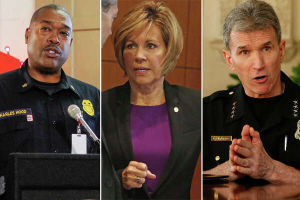 Fire Chief Charles Hood, Sheryl Sculley, William McManus