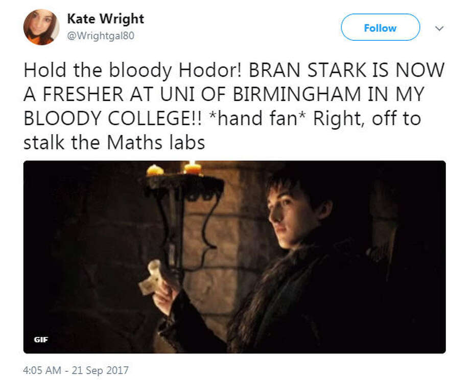 Isaac Wright, who plays Bran Stark on Game of Thrones, has started college at the University of Birmingham in the United Kingdom and people can't handle it.Image source: Twitter Photo: Twitter